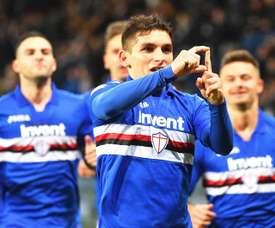 Lucas Torreira anotó el tanto de la Sampdoria en la visita del Torino. EFE/EPA
