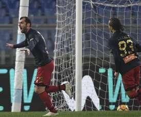 Pandev celebra o gol apontado à Lazio. EFE