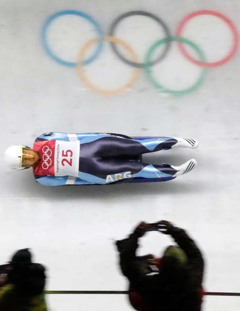 La argentina Veronica Maria Ravenna, hoy en la competición de luge de los Juegos Olímpicos de PyoengChang. EFE
