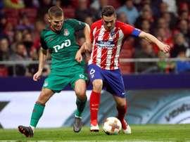 Atlético de Madrid - Lokmotiv Moscou: onzes iniciais confirmados. EFE