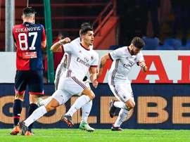André Silva celebra o seu 1º golo na Serie A italiana. EFE