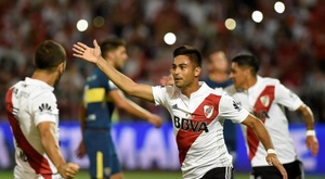 Gonzalo Martinez was involved in both goals for River Plate. EFE