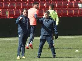 Pedro Morilla dirigió el entrenamiento. EFE