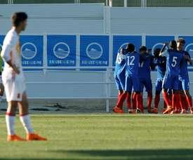 L'équipe de France se qualifie en demies pour l'Euro U19. AFP