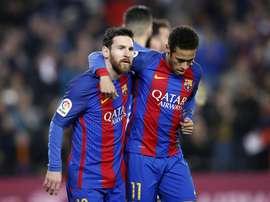 Messi tenta afastar Neymar do Real Madrid segundo jornal espanhol. EFE/Arquivo