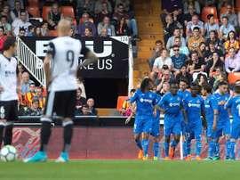 Valencia perde frente ao Getafe. EFE
