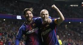 Messi égale Iniesta. AFP