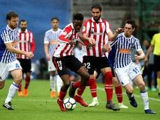 El Athletic sufrió una dura derrota en Anoeta. EFE