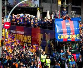 Barcelona celebrated their La Liga title with the fans. EFE