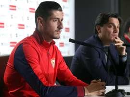 Escudero, ravi d'être leader de Liga. EFE