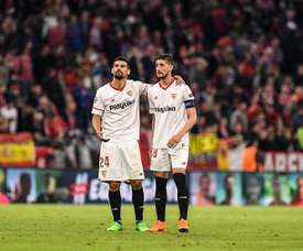Nolito (L) is back in the Sevilla squad to face Real Madrid. EFE/Archivo