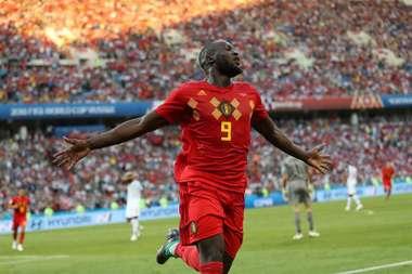 Romelu Lukaku of Belgium celebrates scoring against Panama. EFE