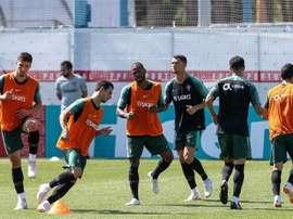 Moutinho y Guerreiro se perdieron el entrenamiento. EFE