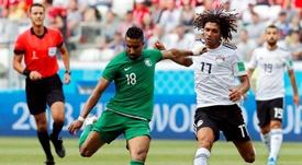 Al Dawsari, satisfecho con la victoria y el gol ante Egipto. EFE