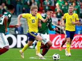Suecia ganó a México y se clasifica como primera. EFE