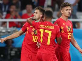 Januzaj celebrates with teammates after scoring the 1-0 lead during the FIFA World Cup 2018. EFE