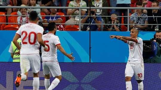 Khazri inscrit le but de la victoire pour la Tunisie. EFE