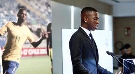 novo jogador do Real Madrid em sua apresentação no Bernabéu. EFE