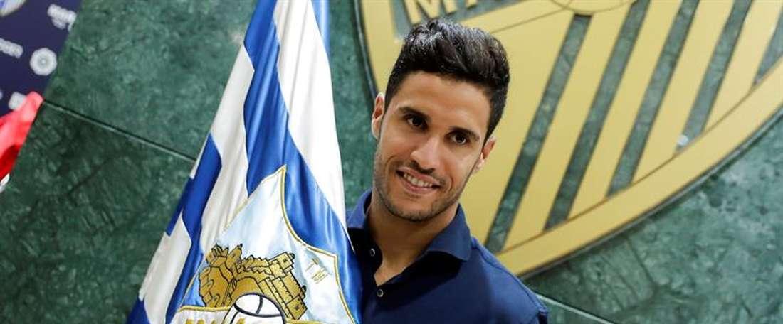 Munir Mohand los de sa présentation comme nouveau joueur du Malaga CF. EFE