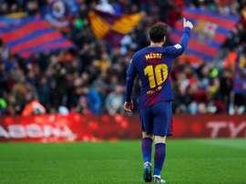 Messi quer continuar aumentando o seu nome no Barcelona. EFE/Archivo
