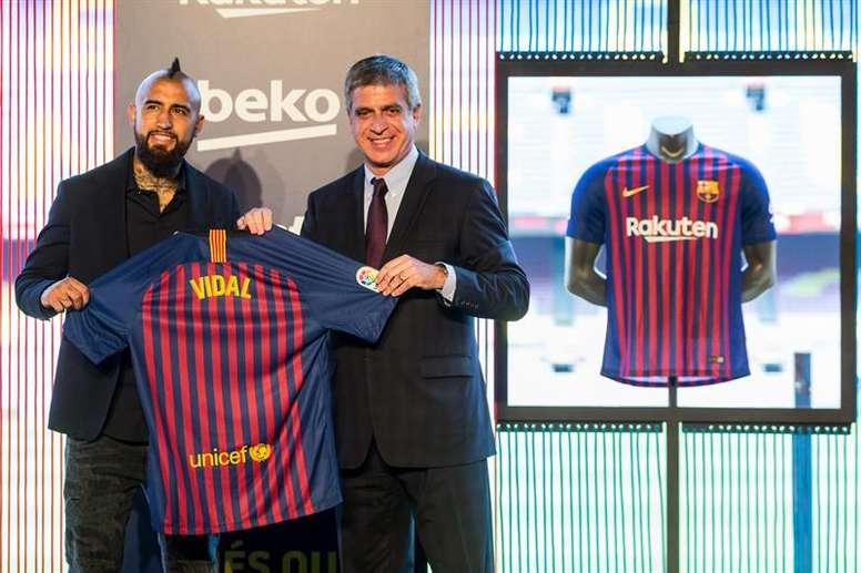 Arturo Vidal a été présenté par le Barça. EFE