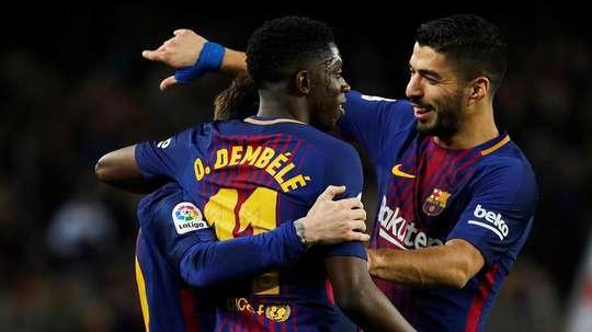 Trio ofensivo do Barcelona na enfermaria. EFE