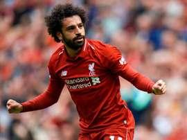 Liverpool de  Mohamed Salah celebra um gol durante a partida. EFE