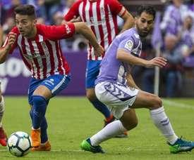 Javi Moyano cayó lesionado durante el pasado encuentro contra el Eibar. EFE/Archivo