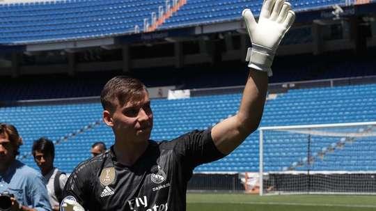 Lunin aún no ha debutado con el Leganés. EFE