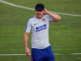 Diego, Simeone, durante un entrenamiento en Majadahonda (Madrid). EFE/Archivo