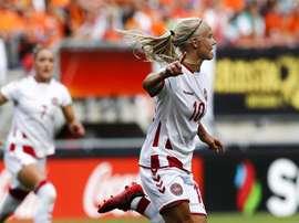 Pernille Harder ha sido elegida como mejor jugadora del año para la UEFA. EFE/Archivo