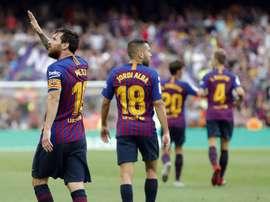 Um show do Barcelona contra o Huesca. AFP