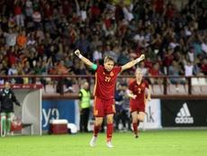 Amanda anotó el segundo de España ante Serbia. EFE