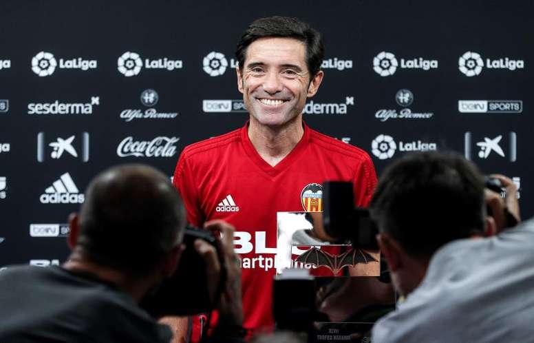 Marcelino, satisfecho tras el empate y el juego del Valencia. EFE
