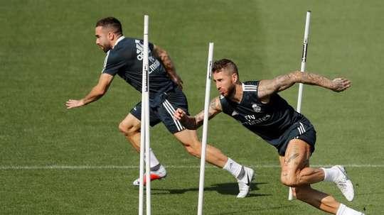 Dani Carvajal e Sergio Ramos, desfalques do Real Madrid contra o Alavés. EFE