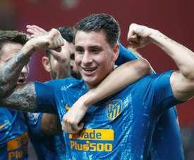 Eventual match winner José María Gimenez celebrates putting Atlético ahead. EFE