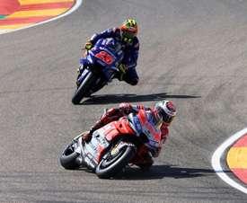 El piloto español de MotoGP Jorge Lorenzo durante los entrenamientos de MotoGP del GranPremio de Aragón que este domingo se disputa en el circuito de Motorland, en Alcañiz. EFE