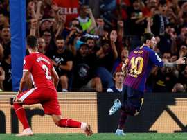 Messi opened the scoring at the Camp Nou. EFE