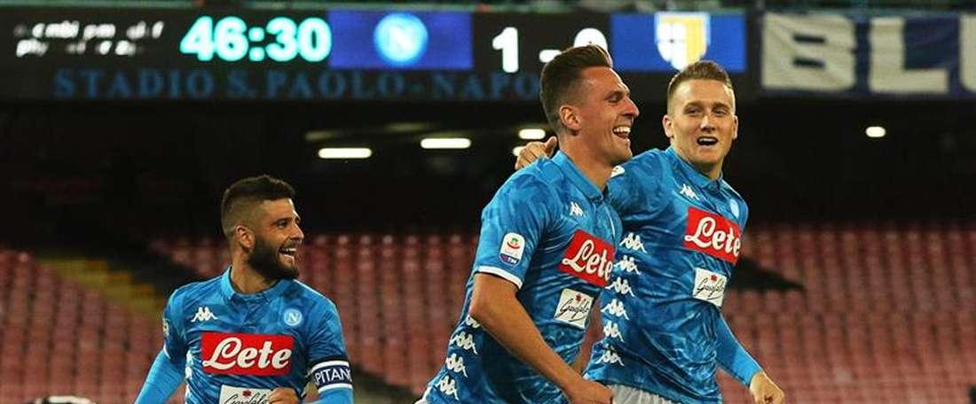 Serie A italiana entre SSC Napoli y Parma Calcio en Nápoles (Italia). EFE