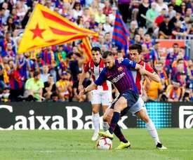Messi Barcelona conta o Bilbao. AFP