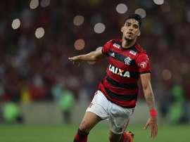 Fotografía tomada el pasado 6 de mayo en la que se registró una celebración Lucas Paquetá, centrocampista brasileño del Flamengo. EFE/Archivo