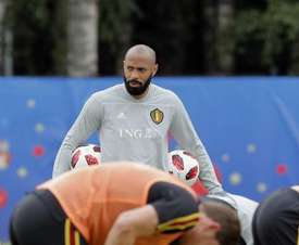 Henry pictured during the World Cup at Belgium's camp. EFE