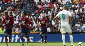 El Levante puntuó por segunda vez en Primera en el Bernabéu. EFE/Archivo