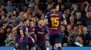 Les joueurs du FC Barcelone. EFE