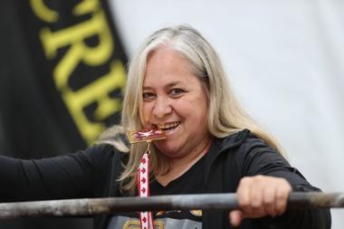La levantadora de potencia uruguaya Judith Reitmann, durante una entrevista con Efe, en Montevideo (Uruguay). EFE