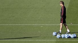 El Madrid entrenó con vistas a la Champions. EFE