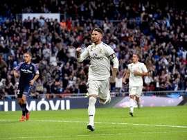 Real Madrid Sergio Ramos celebra el segundo gol de su equipo ante el Real Valladolid. EFE
