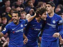 Pedro celebrates victory over Crystal Palace. EFE