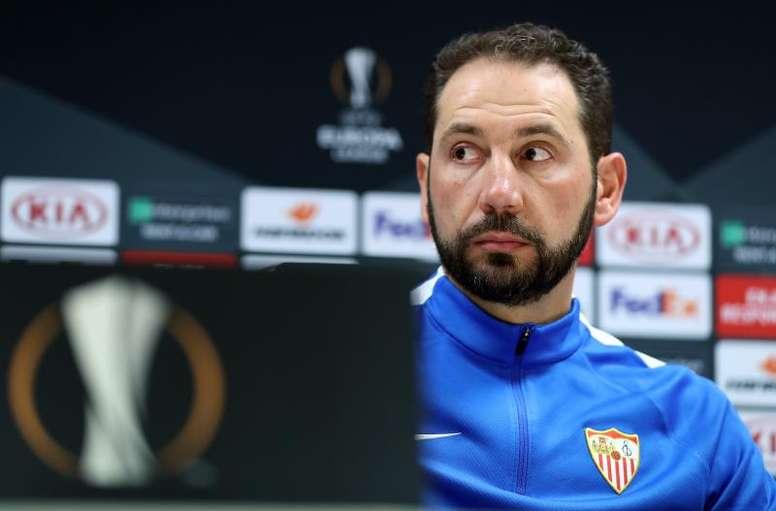 El técnico del Sevilla espera que sus jugadores den la talla en el Olímpico. EFE