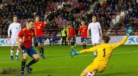 Borja Mayoral firmó un 'hat trick' ante Dinamarca. EFE